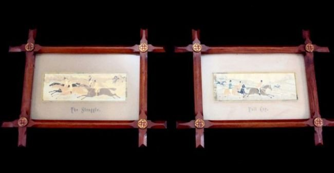 ANTIQUE Stevengraph Silk Work PAIR