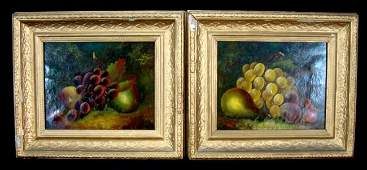 Antique Oil Paintings, Pair Still Life, Signed