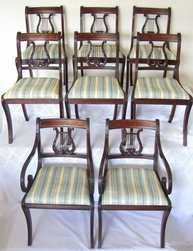 Antique Dining Chairs w/brass inlay