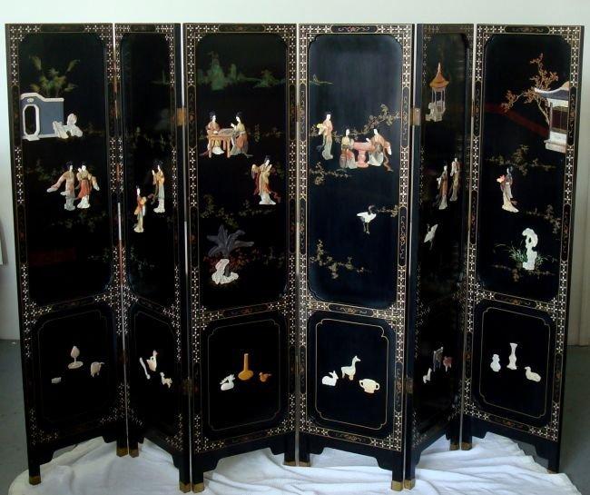 Six-Panel Oriental Floor Screen