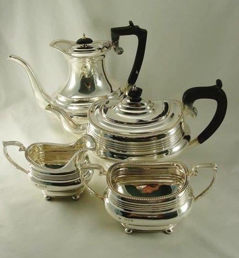 Sterling Silver Tea Set 4 pcs Hallmarks