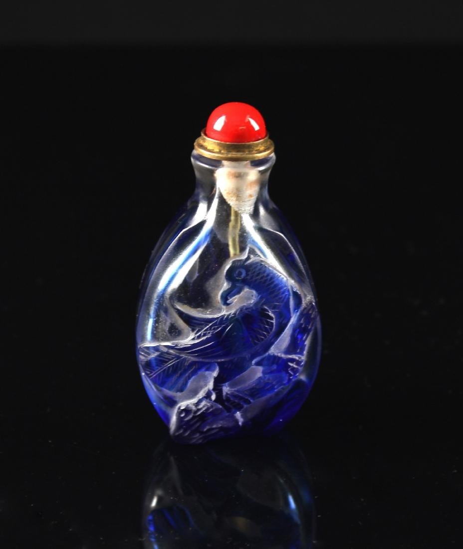 Single Overlay of Blue on Clear Glass Snuff Bottle Qing