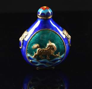 Blue Coloured Enamel on Copper Snuff Bottle Qing