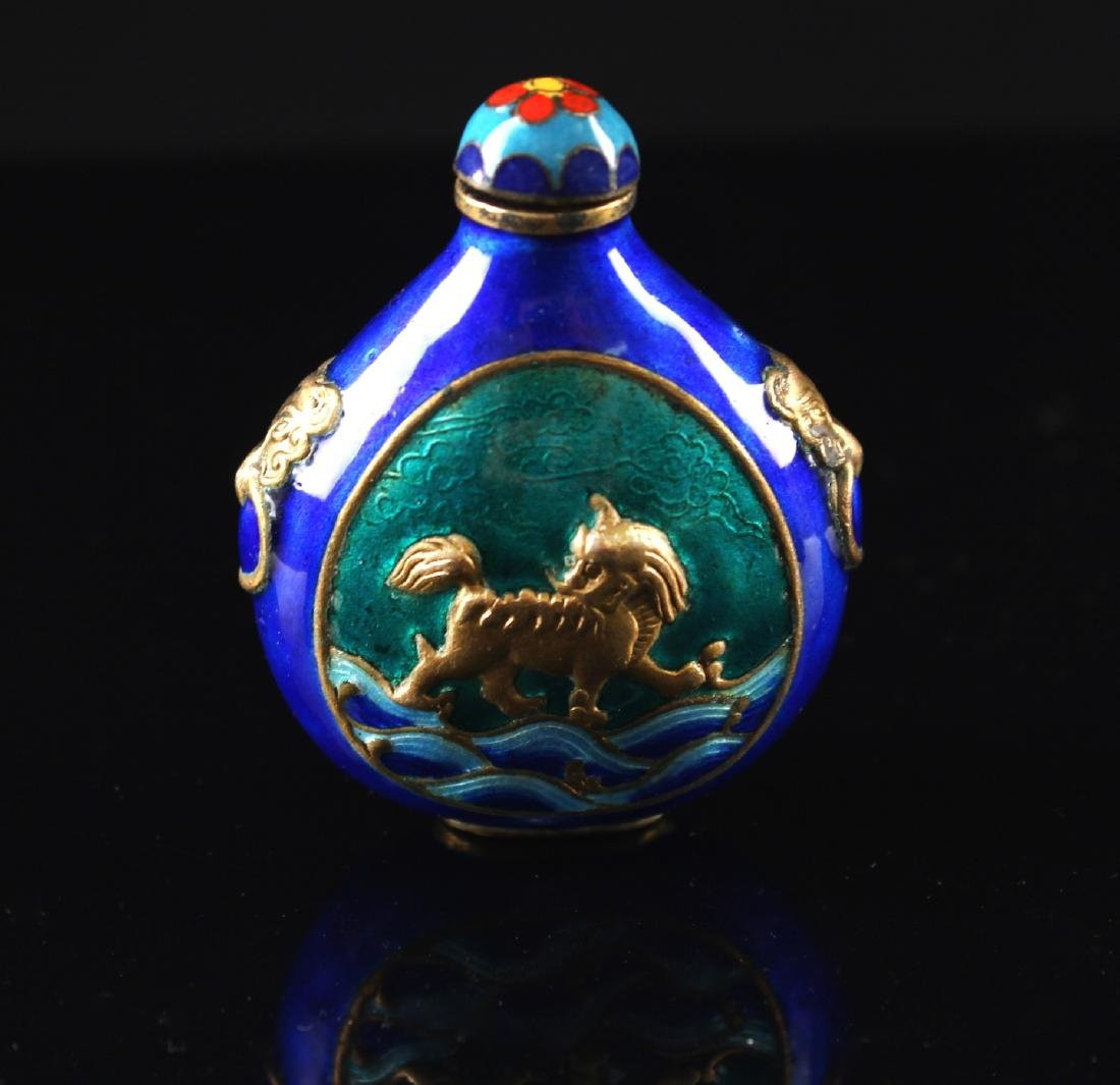Blue Coloured Enamel on Copper Snuff Bottle Qing