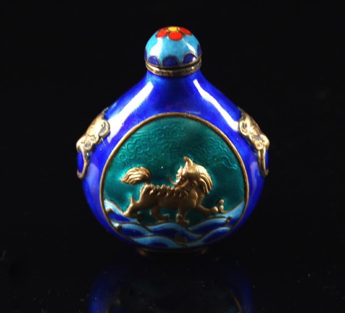 Blue Coloured Enamel on Copper Snuff Bottle Qing - 2