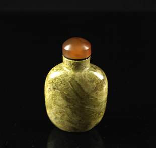 Quartz Green Coloured Snuff Bottle Qing Dynasty