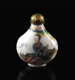 Cloisonne Enamel Painting Story Snuff Bottle Guangxu