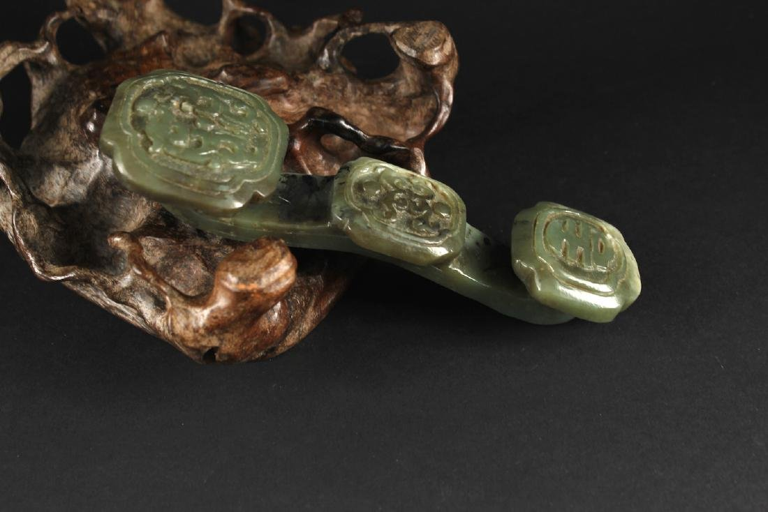 Green Jade Carved with a Ru-Yi Decorative Article
