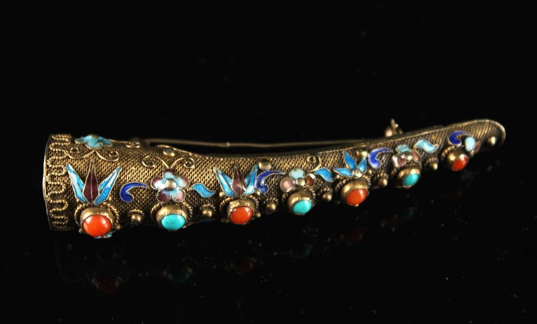 Silver Gilt Nail Wrap Inlay with Coral & Turquoise Qing