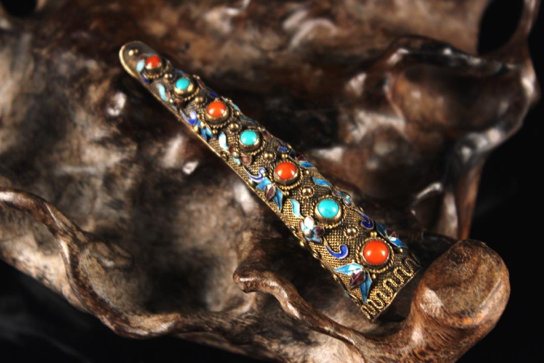 Silver Gilt Nail Wrap Inlay with Coral & Turquoise Qing - 2