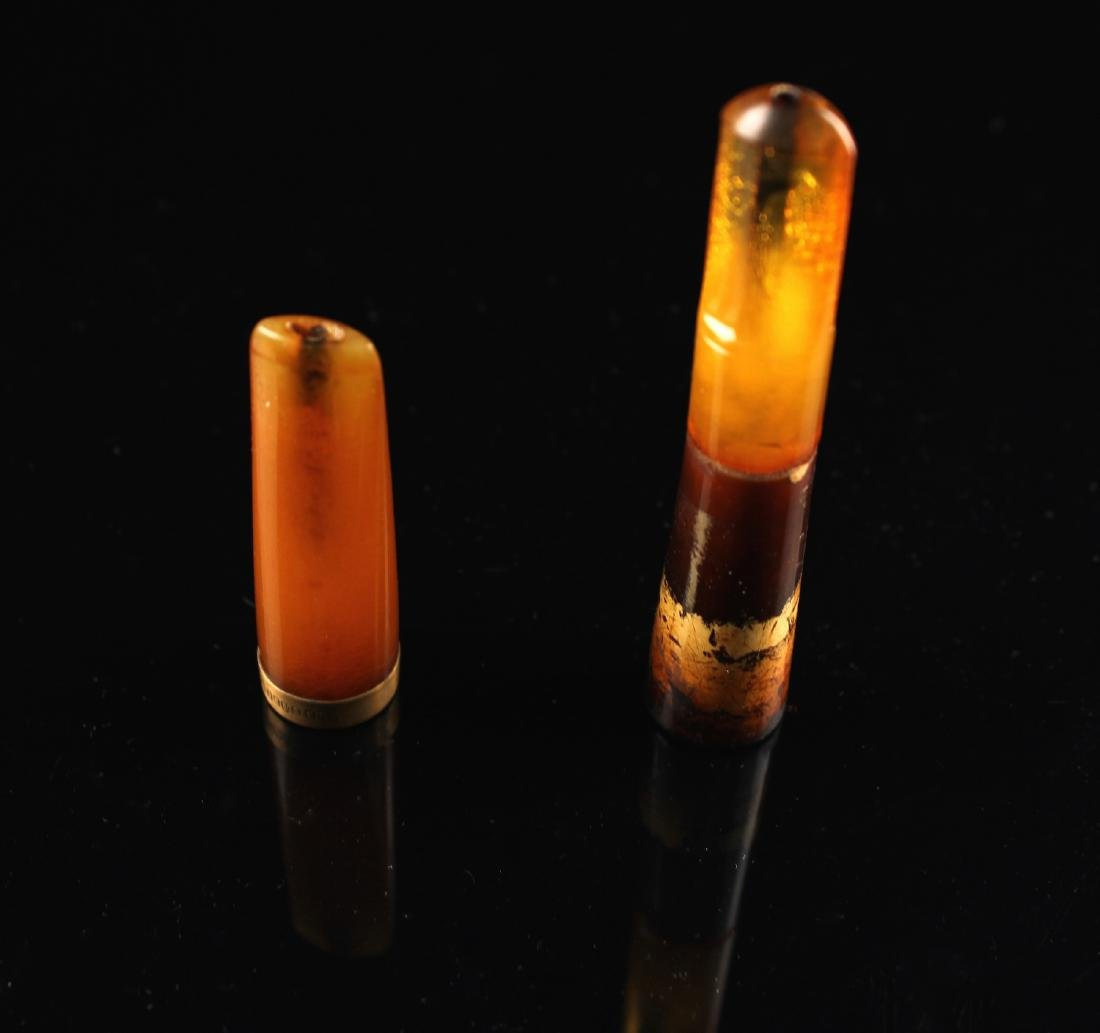 Two Pieces of Amber & 10K Gold Cigarette Tips - 3