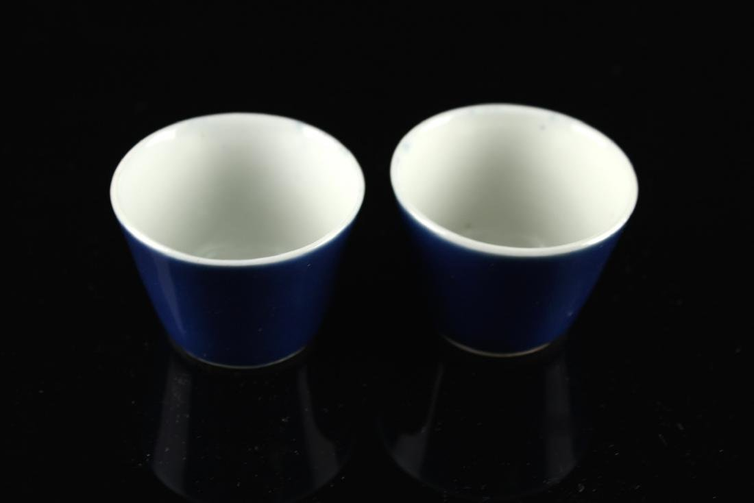 Pair of Blue Glaze Tea Cup Qing Guangxu Period - 3