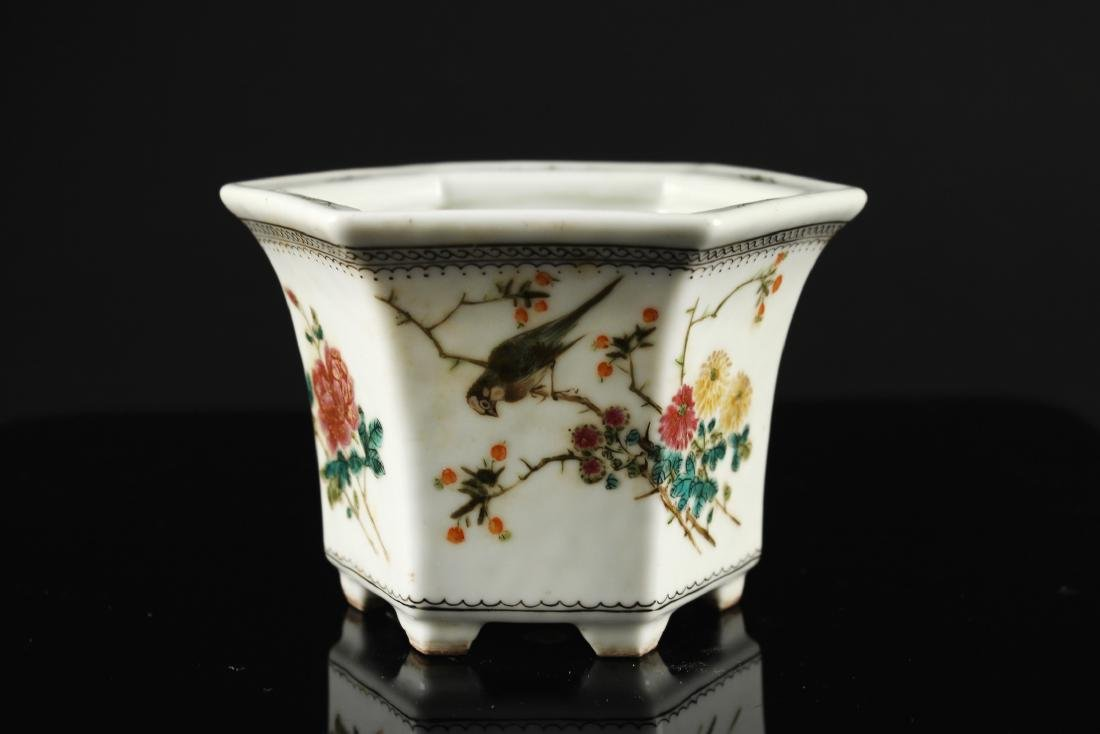Famille Rose Flowers and Birds Design Flowers Pot Qing