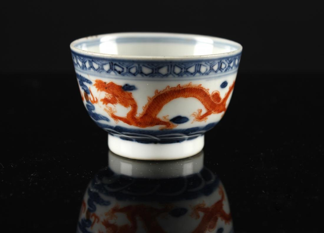 Blue and white Iron Red Dragon Design Teacup Tongzhi