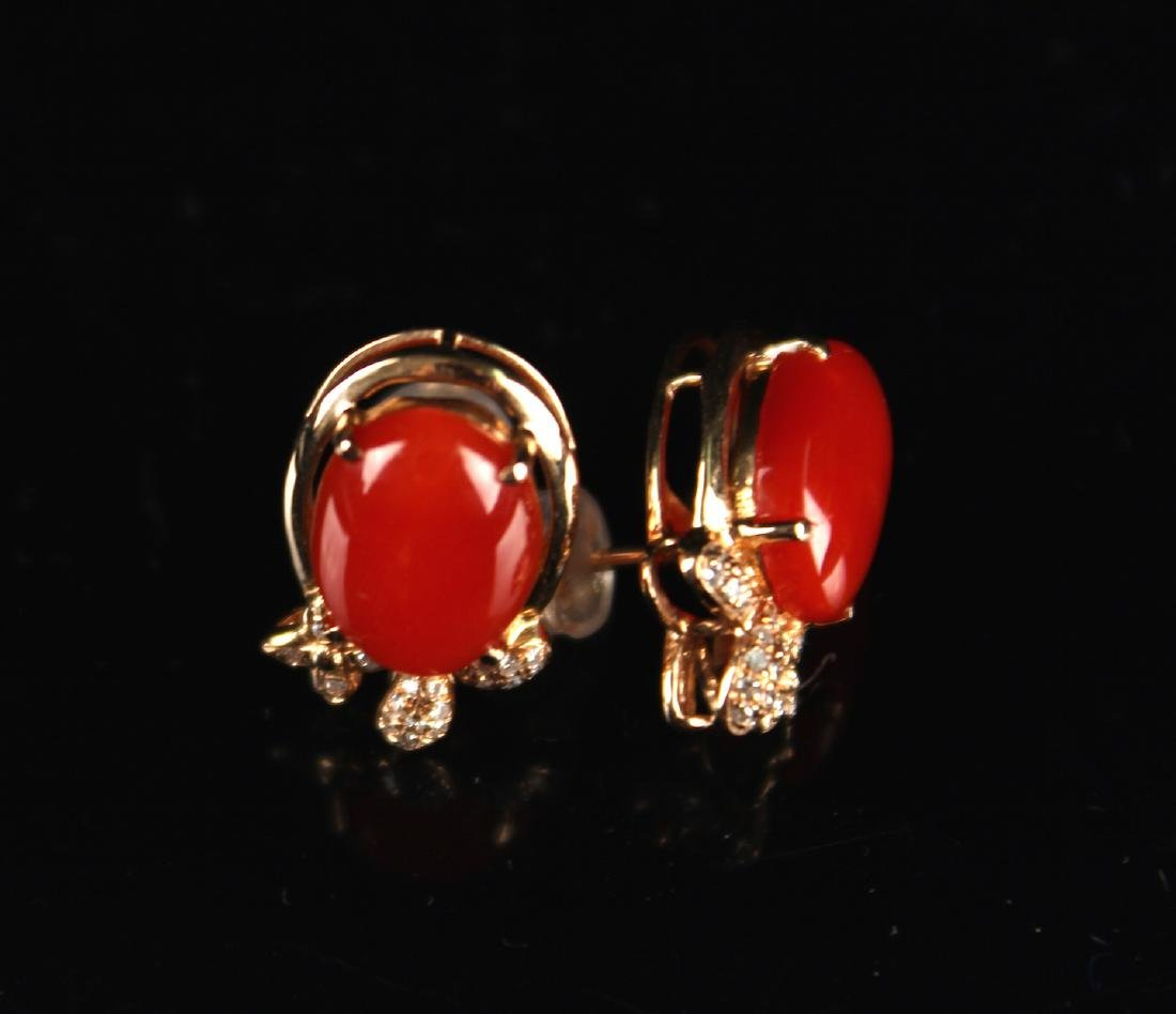 Pair of 18k Gold inlay with High Grade Coral Earrings