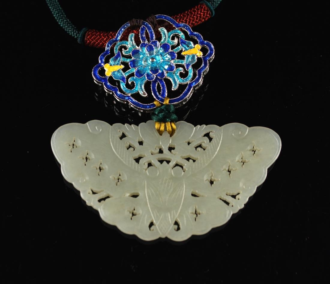 White Jade Carved with Butterfly Pendant Ming Dynasty