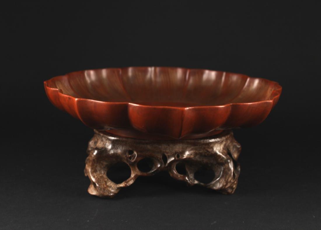 Bodiless Lacquerware Lotus Shape Dish Qianlong Period - 8