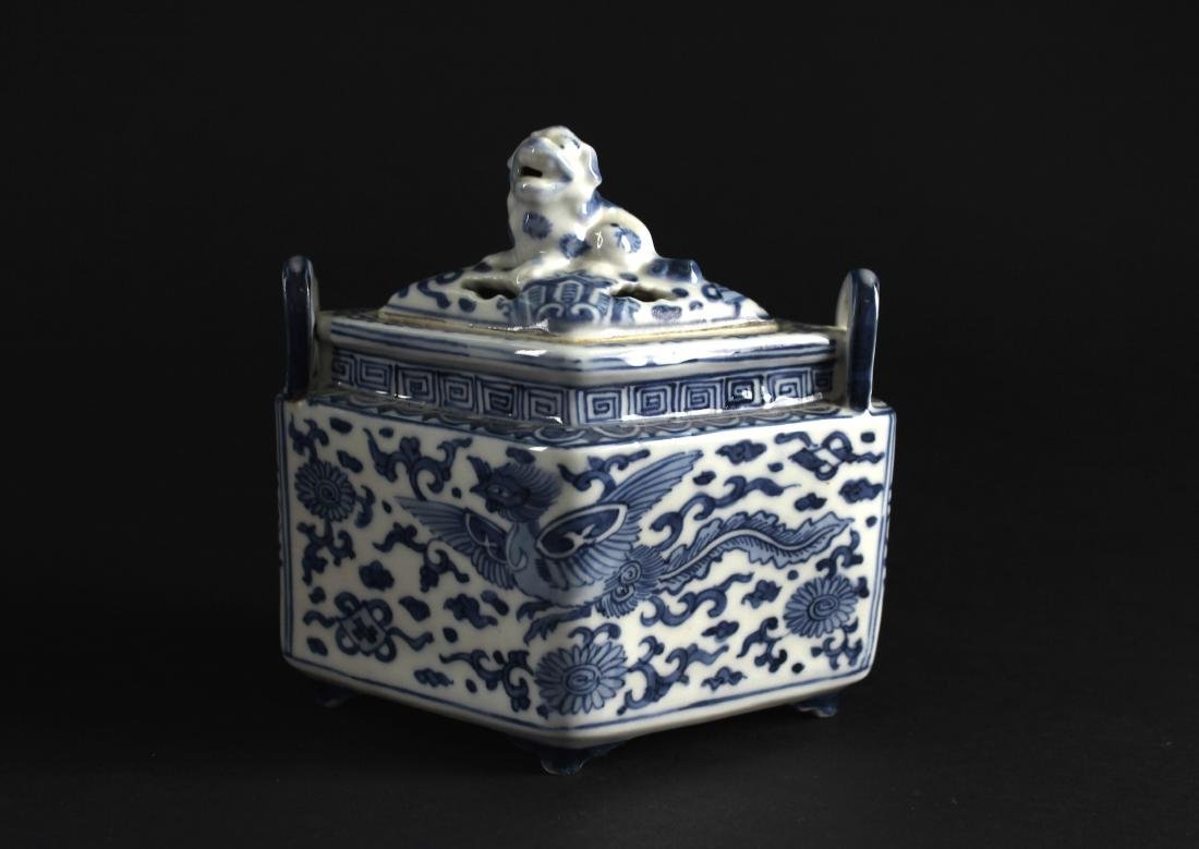 Blue and White Diamond Shape Censer Late of Qing