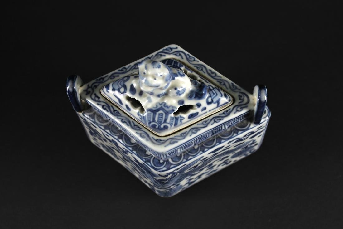 Blue and White Diamond Shape Censer Late of Qing - 2