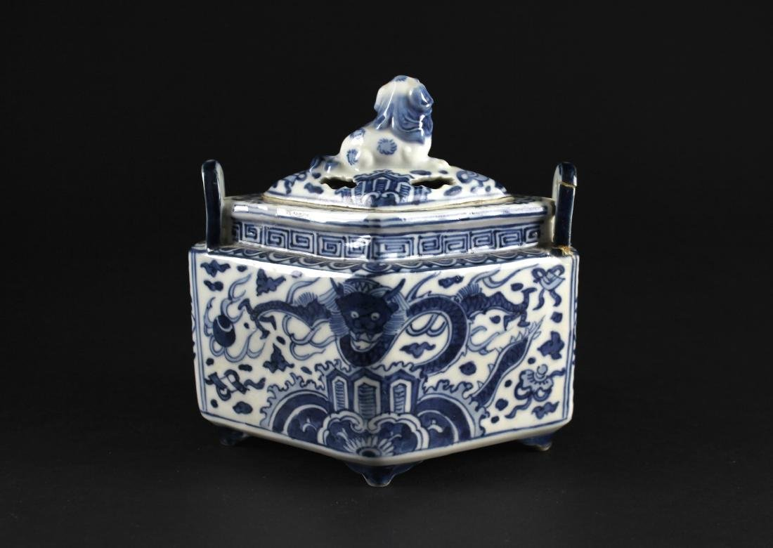 Blue and White Diamond Shape Censer Late of Qing - 3