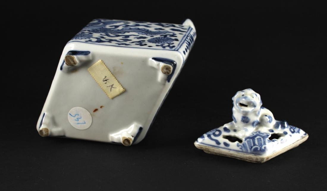 Blue and White Diamond Shape Censer Late of Qing - 5