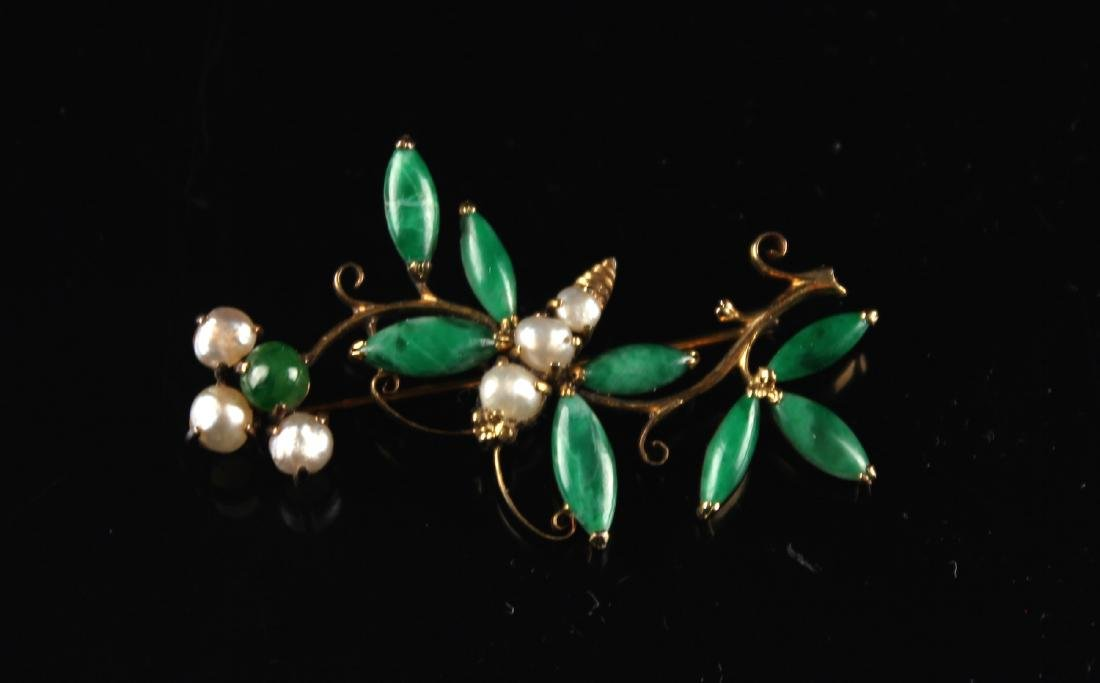 Gold Inlaid with Jadeite and Pearl Brooch Repulican