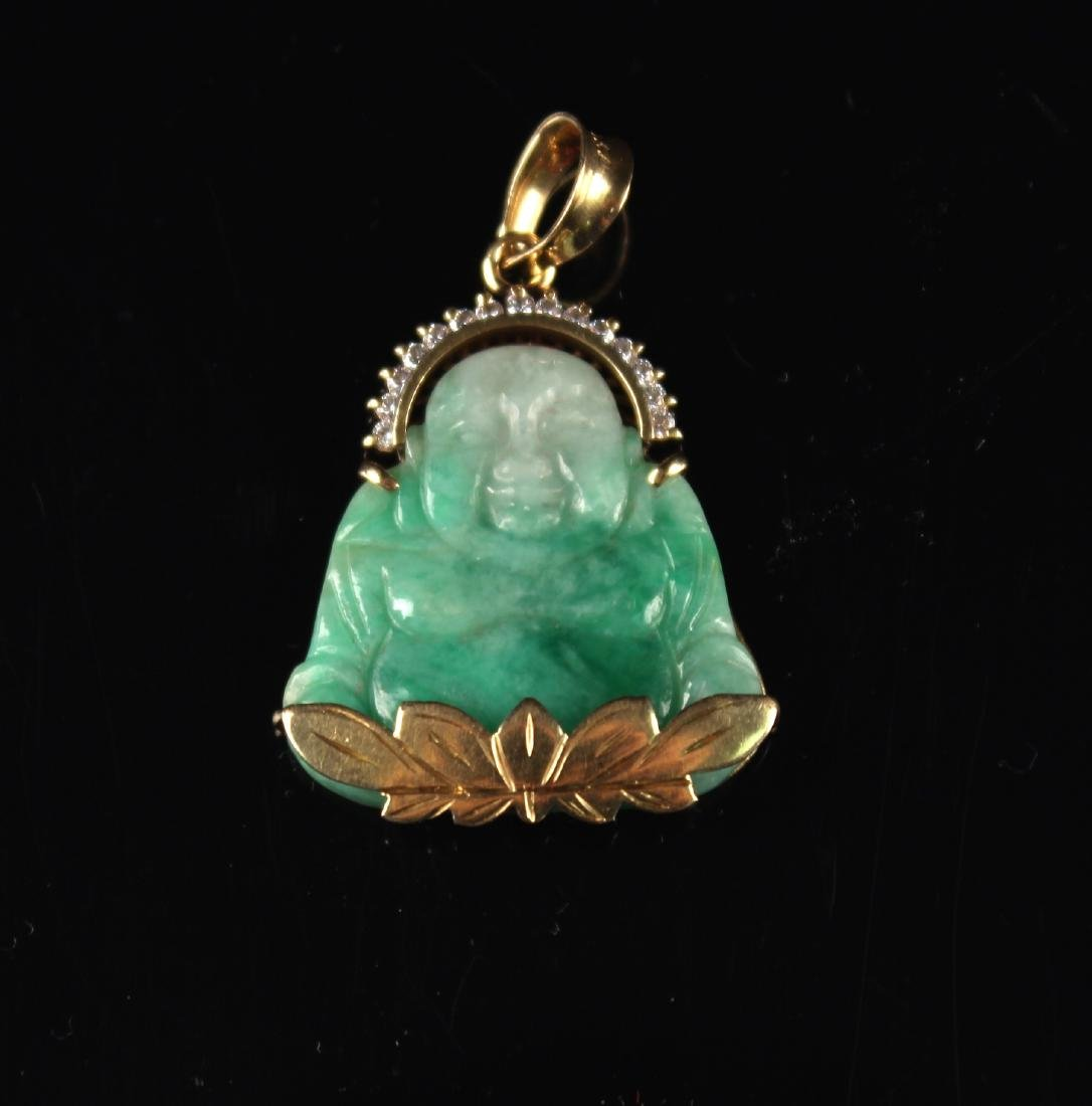 18K Gold Inlaid with Jadeite Buddha Pendant Qing