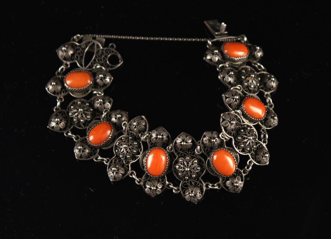 Silver Inlaid with Coral Bracelet
