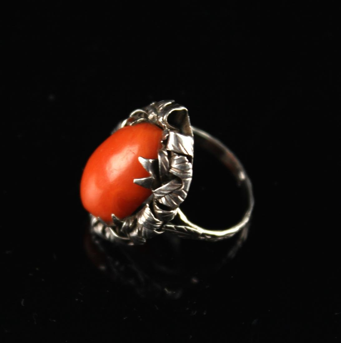 Silver Inlaid with Coral Ring