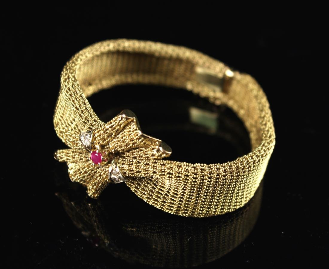 14K Gold Inlaid with Ruby and Diamond Bracelet