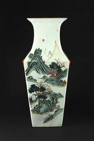 Famille Rose Square Vase By Wangpeizhan Republican