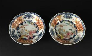 Pair of Blue and White Color Story Bowl Qianlong Period