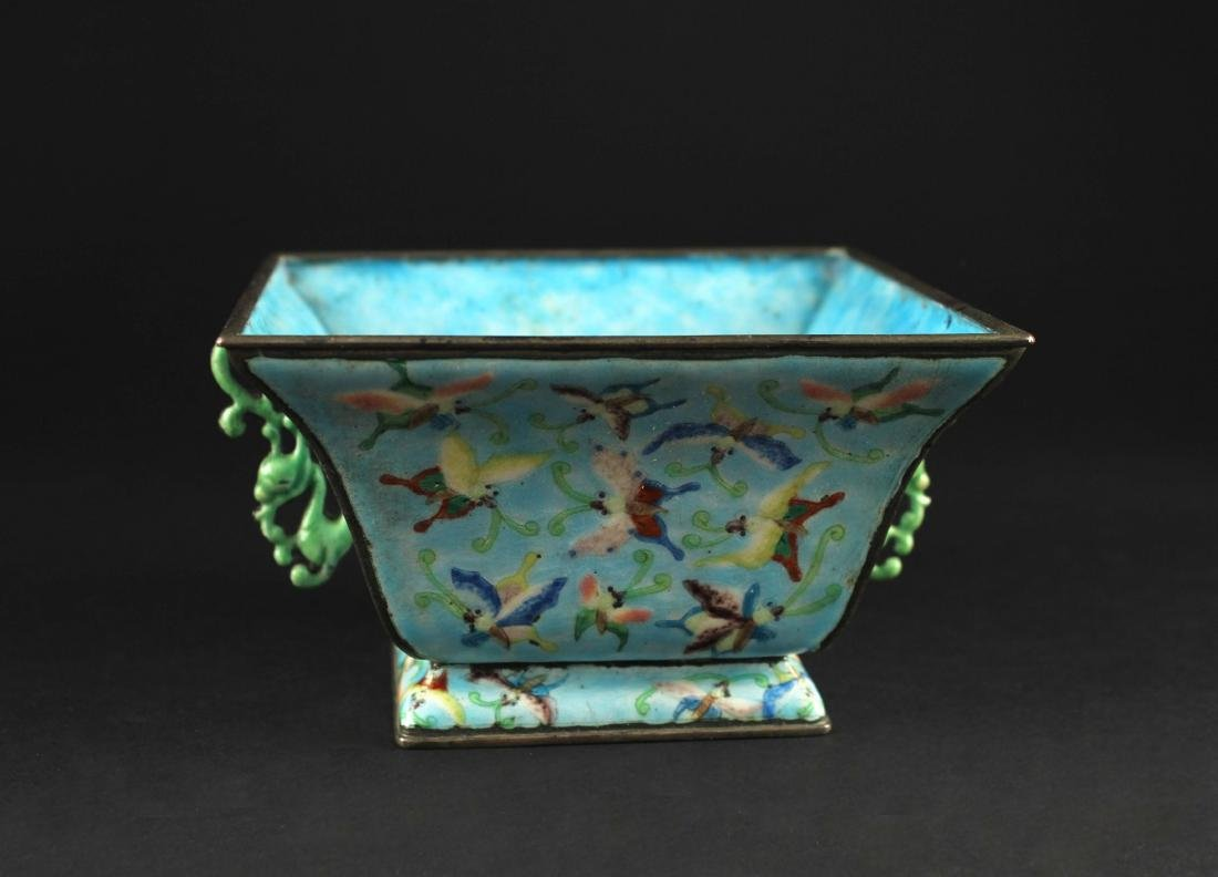 Cloisonne Square Bowl The Late of qing Dynasty Period