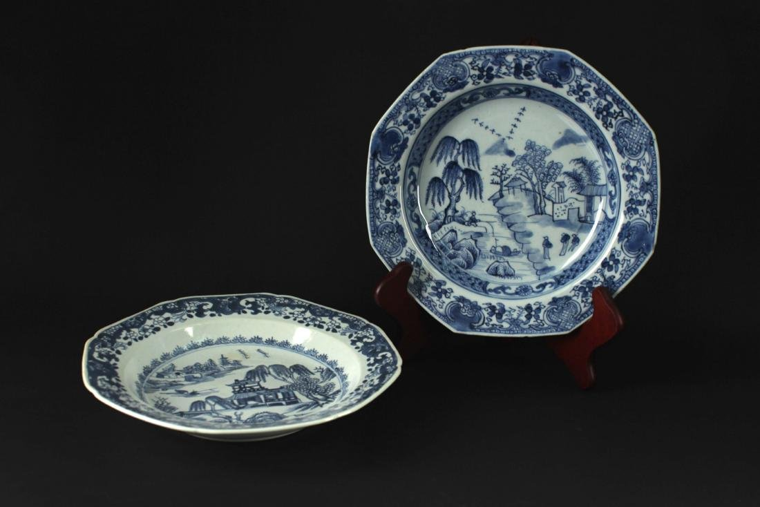 Pair of Blue and White Landscape Dish Middle of Qing