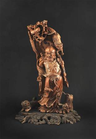 Rosewood Carved with Damo Buddha Statue End of Qing
