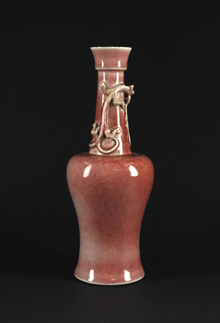 Cowpea Red Glaze Dragon Vase Qing Dynasty Kangxi Period