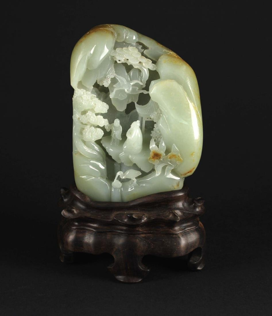 Hetian Green&white Jade Carved with Landscape