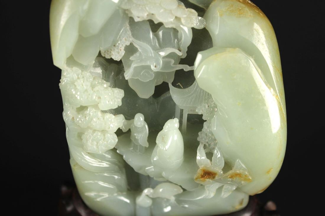 Hetian Green&white Jade Carved with Landscape - 2