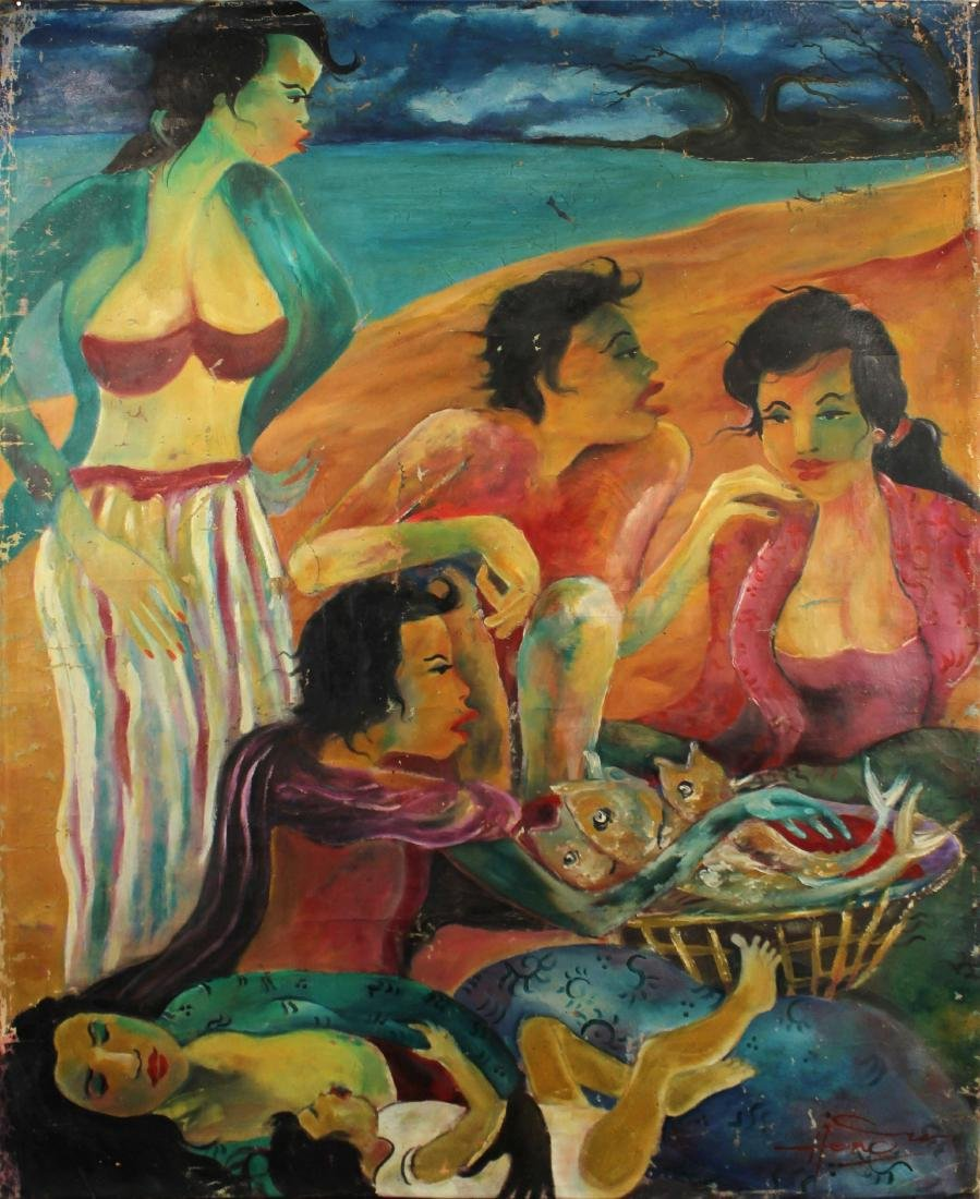 Hendra Gunawan, women and Fish, Oil on Canvas