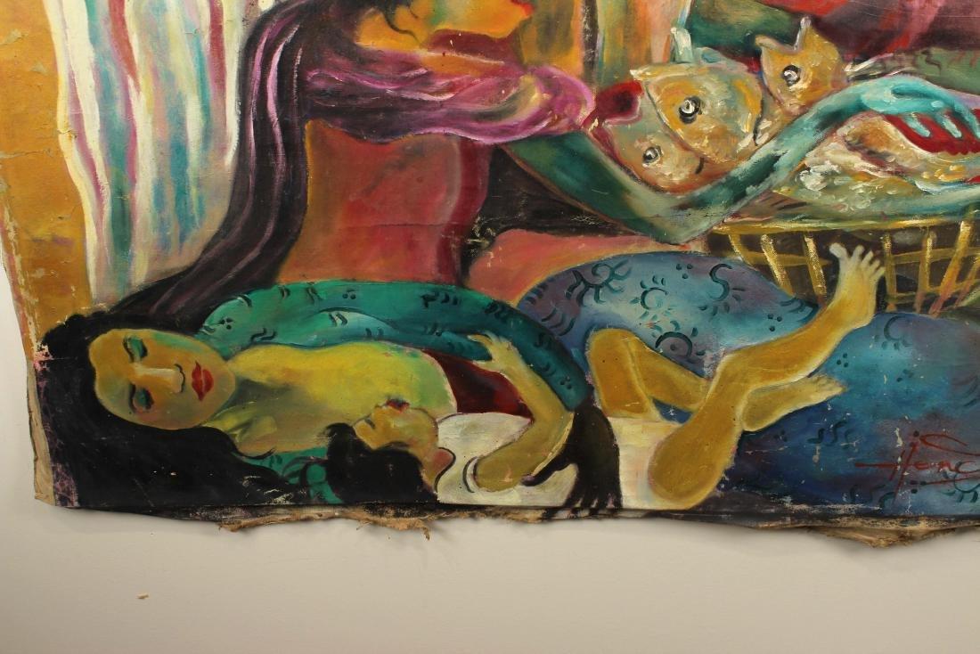 Hendra Gunawan, women and Fish, Oil on Canvas - 3