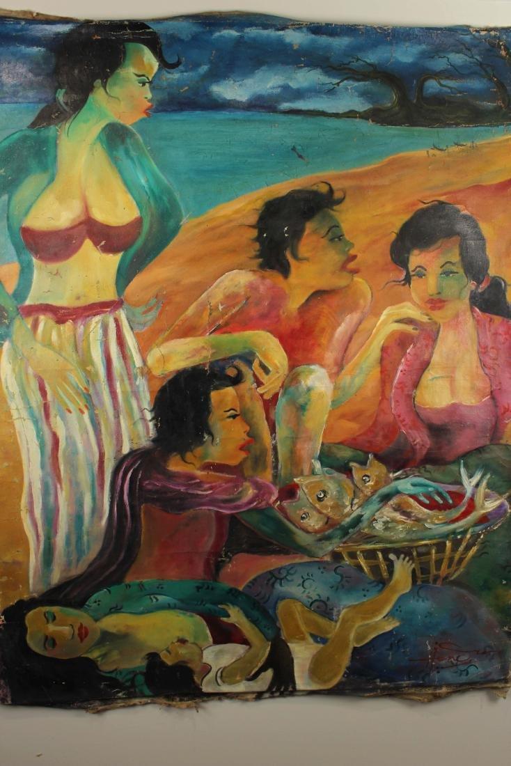 Hendra Gunawan, women and Fish, Oil on Canvas - 6
