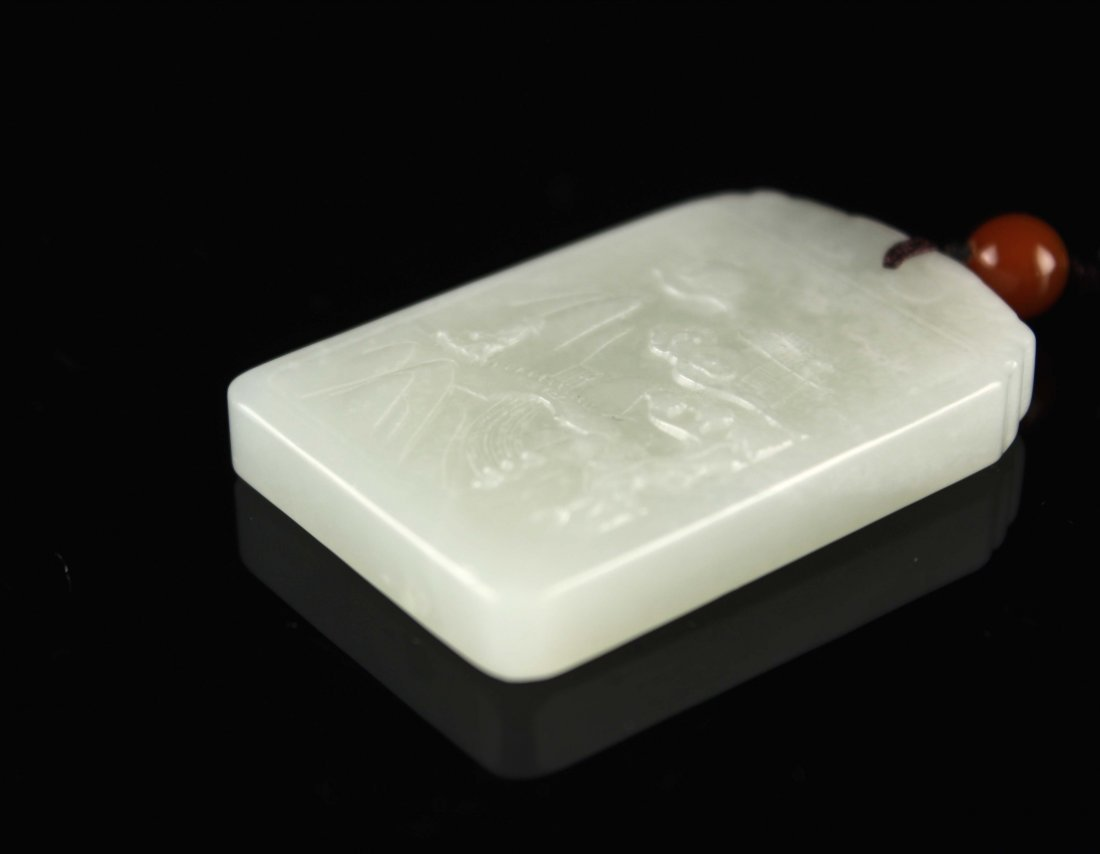He-Tian Jade Carved with Landscape Pendant