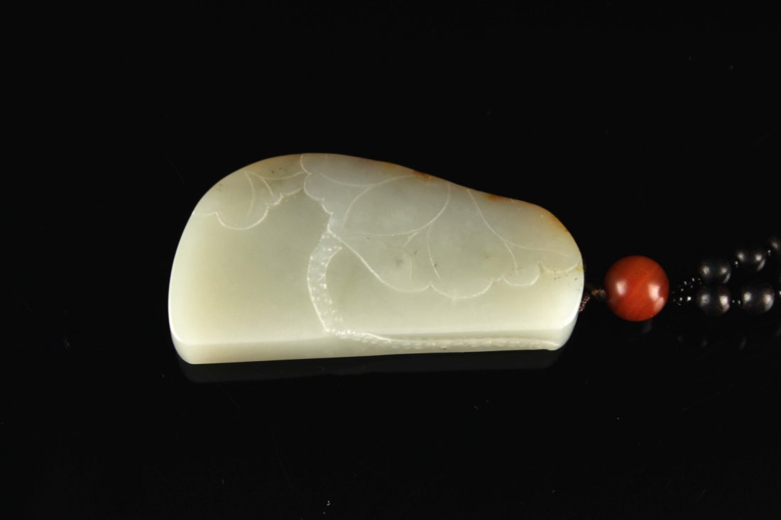 He-Tian Jade Carved with a Lotus Pendant - 2
