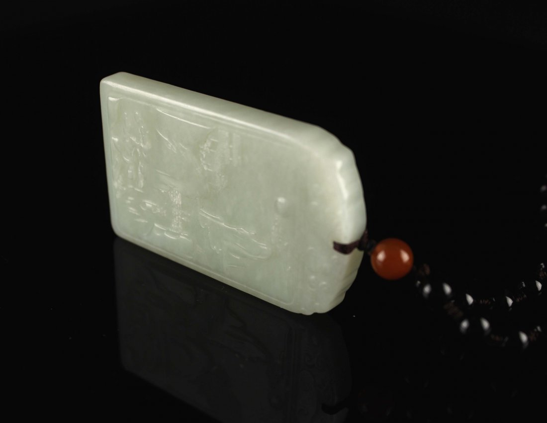 He-Tian Jade Carved with Landscape Pendant - 2