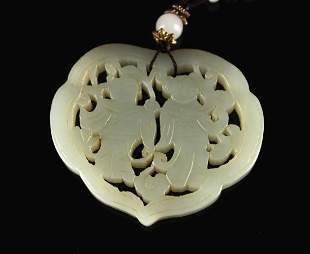 He-Tian Jade Carved with Gods of He-He Pendant