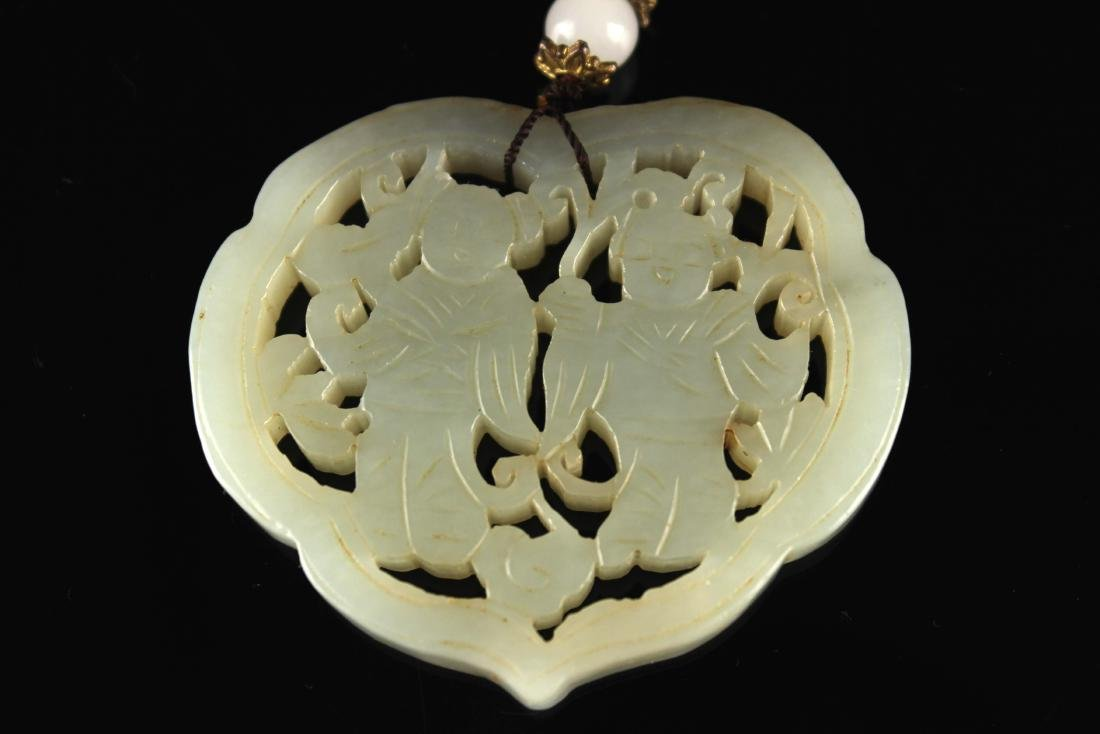 He-Tian Jade Carved with Gods of He-He Pendant - 2
