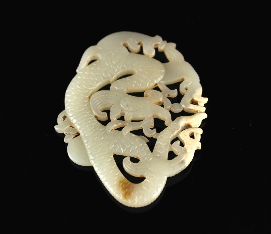 He-Tian Jade Carved with a Dragon Pendant Song Dyansty - 3