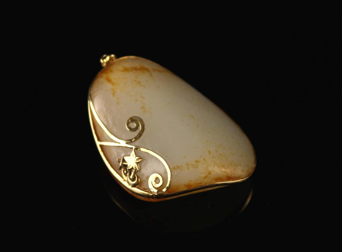 He-Tian Jade Wrapped with 18K Gold Pendant - 3