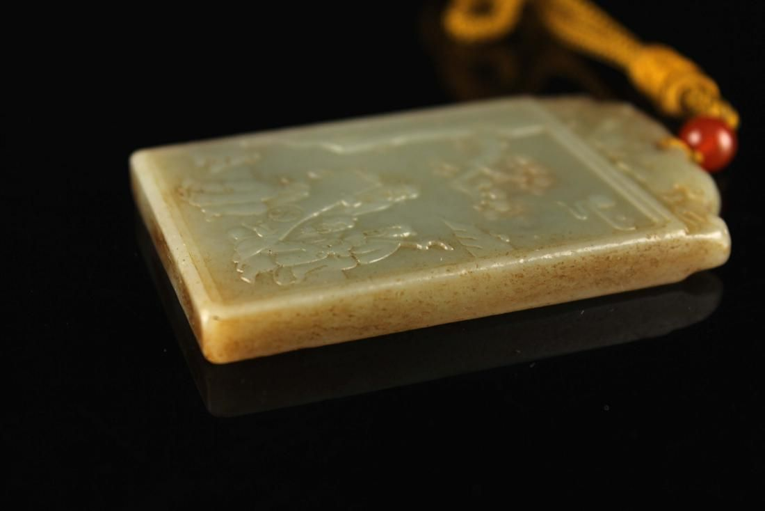 Green Jade Carved with Chinese Poetry&Story Pendant