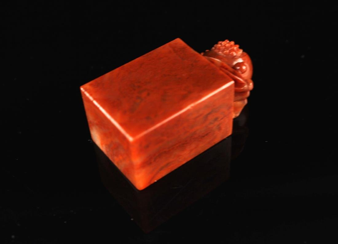 Shou-Shan Stone Carved with a Pomegranate Button Seal - 3